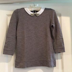 LOFT Jeweled Collar Sweatshirt, Grey, Sz XSP